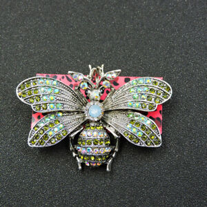 Fashion AB Green Crystal Cute Honeybee Betsey Johnson Animal Brooch Pin Gift