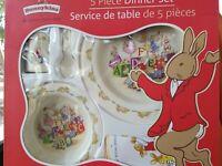 Royal Doulton Bunnykins  5 Piece Dinner Set Plate Bowl Spoon Sipper Bib Melamine