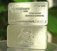 (5) 1 oz One Troy Ounce Biohazard .999 Pure Nickel Bullion Bar Ni Element