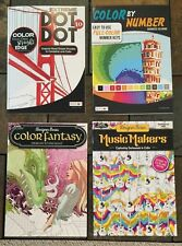 Lot Of 4 Brnd New Color by Number Dot 2 Dot Fantasy Music Adult Coloring Book BN