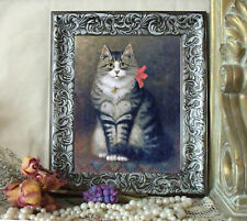 NEW ITEM Silver Gray Tabby Cat Art Print Sanborn Antique Styl Framed 11X13
