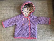 Mini Boden Baby Girls Quilted Jacket Coat Purple w/ Pink Trim - 6-12 months