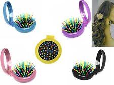 Small Round Folding Hair Brush Mirror Compact Handbag Pocket Purse Size