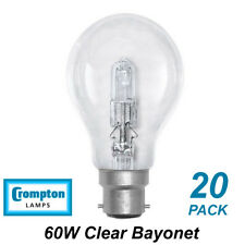 20 x 60W Clear Light Globes / Bulbs B22 Bayonet Halogen Warm White Dimmable A60
