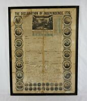Antique 19th C Ensign Bridgman & Fanning Declaration of Independence Lithograph