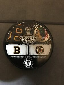 BOSTON BRUINS VS CHICAGO BLACKHAWKS 2013 NHL CUP ORIGINAL SIX 6 PUCK MINT RARE!