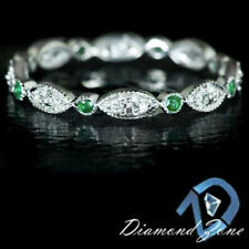 NATURAL GREEN EMERALD DIAMOND BAND 14K WHITE GOLD DAINTY VINTAGE STYLE RING REAL