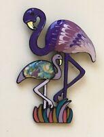 Vintage style flamingo brooch pin in enamel on metal