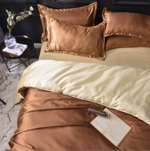 Duvet Cover Set Silk Satin Flat Fitted Sheet Pillowcases Bedding Sets Home Soft