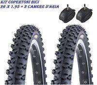 KIT 2 PNEUMATICI COPERTONI + 2 CAMERE D'ARIA MTB BICI BICICLETTA 26 X1.95 50-559