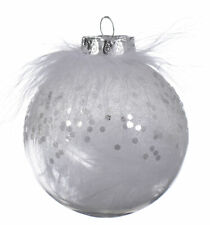 12 x White Feather & Sparkle Finish white Christmas Tree Baubles Decorations 8cm