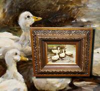 Vier Enten im Teich. Tolles altes Ölgemälde auf Eiche.   Signiert Umkreis KÖSTER