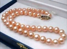 """PERFECT 18"""" AAA 10-9 MM SOUTH SEA NATURAL PINK PEARL NECKLACE 14K CLASP"""