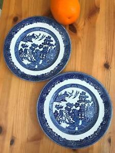 "Set of 2 - 8"" Vintage Blue Willow Johnson Bros England Salad Size Microwave Safe"