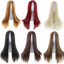 Peluca multicolor recta largas wig Cosplay Anime Mujer extensions disfraz  negra ad300b788f01
