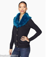 NEW JUICY COUTURE $248 NAVY FAUX FUR COLLAR CARDIGAN SWEATER JACKET SZ S