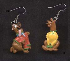Funky Mini SCOOBY DOO EARRINGS Retro Dog Figure Cartoon Costume Jewelry-RED/YELL