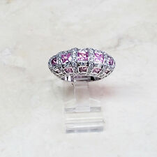 Victoria Wieck Sterling Silver Pink White Absolute Dome Ring Size 6 HSN