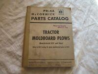 International McCormick tractor plow parts catalog book manual