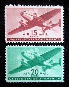 15¢ 20¢ 1941 Scott c28 c29 Twin-Motored Transport Plane Stamps Mint NH XF/VF OG