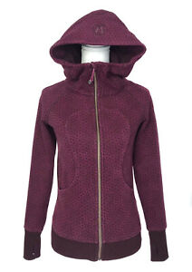 💜 Lululemon Scuba Hoodie Thick Jacket Full Zip Thumb Holes Burgundy Women's 4💜