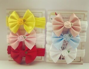Satin Bow Baby Headbands 6 Bows Set 3 inch Bow Embroidery Flower Soft Band/Clip