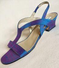 New Nordstrom Blue Dupioni Silk T Strap Sandals Flats/Low Heels sz 8.5 N