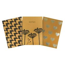 3x A4 Hardback Notebook Ruled 140 Pages Stylish Design Lined for School/Office