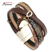 Vintage Women Multilayer Leather Rhinestone Resin Beads Wrap Cuff Charm Bracelet