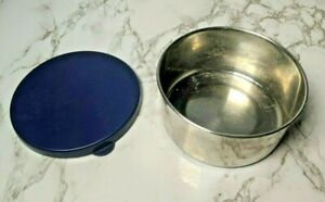 """Pottery Barn Kids Stainless Steel Lunch Container BOWL + LID Blue Metal 4"""" wide"""