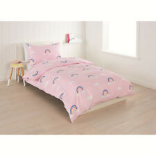 Girls Kids Single Bed Quilt Doona Cover + Pillowcase Set Rainbow Pink