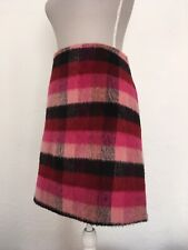 Pink Fluffy Tartan Mini Skirt UK 20 Red Black Blogger Wool Mix Work Office Short