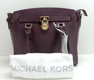 Michael Kors The Hamilton Damson Leather Satchel Handbag + Strap New! NWT
