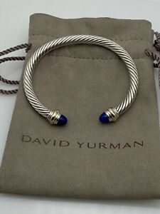 David Yurman Cable Classic Bracelet & 14K Gold 5mm with Lapis Lazuli Small