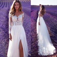 Beach Ivory White Wedding Dresses Bridal Gowns Long Sleeves Slit Split Plus Size