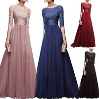 Women Fashion Long Chiffon Lace Evening Formal Party Gown Prom Bridesmaid Dress