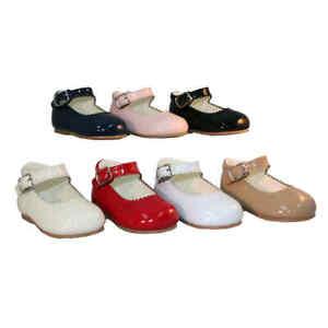 Baby Girls Spanish Mary Jane Patent Shoes navy/black/red/pink/white/camel/cream