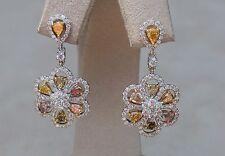 """Fancy Colored Diamond """"Flower"""" Earrings 18k. White & Yellow Gold"""