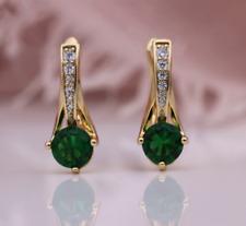 2 CT Round Cut Emerald & Diamond Drop & Dangle Earrings 14K Yellow Gold Finish
