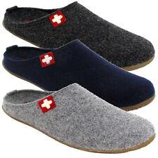 Living Kitzbuhel Mens Swiss Cross Indoor Slippers Lightweight Rubber Wool Warm