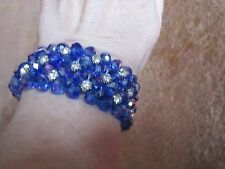 Vintage? Bracelet Rhinestone Blue Beads Elastic Cuff Wedding Prom Sparkle!