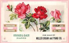 KRANICH & BACH MILLER ORGAN & PIANO CO. PENNSYLVANIA ROSES ADVERTISING POSTCARD