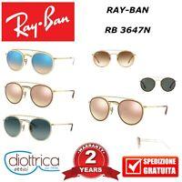 RAYBAN RAY-BAN RB 3647N OCCHIALE DA SOLE OCCHIALI UOMO DONNA POLARIZZATI ROTONDI