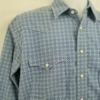Panhandle Mens Shirt Sz S Rough Stock Blue Pearl Snap Western Casual Button Down