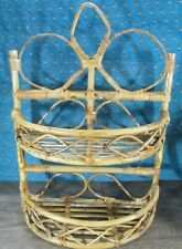 Vintage Rattan Bamboo Display Wall  TABLE TOP Shelf Boho Bohemian 2 Tier Tiki