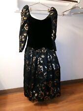 Vintage Victor Costa Formal Dress Velvet Top Metallic Print Sz 12