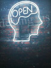 "New Open Mind White Neon Light Sign 14""x10"""