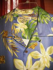 TOMMY BAHAMA HAWAIIAN SHIRT TROPICAL FLOWERS CAMP CASUAL BLUE!SIZE M!100%SILK!