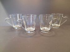 Set of 4 VITROSAX Italy Glass Coffee Cappuccino Mugs Tea Cups Metal Handle