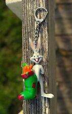 "Bugs Bunny Figurine Warner Bros. Christmas Stocking Carrots 3 1/4"" Tall Keychain"
